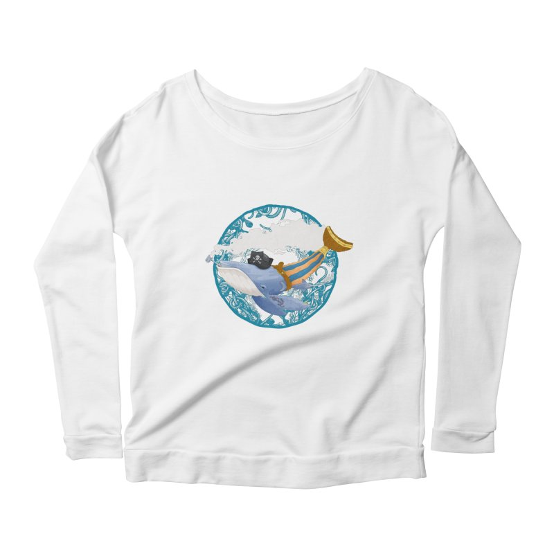 Pirate Whale Women's Longsleeve Scoopneck  by erdavid's Artist Shop