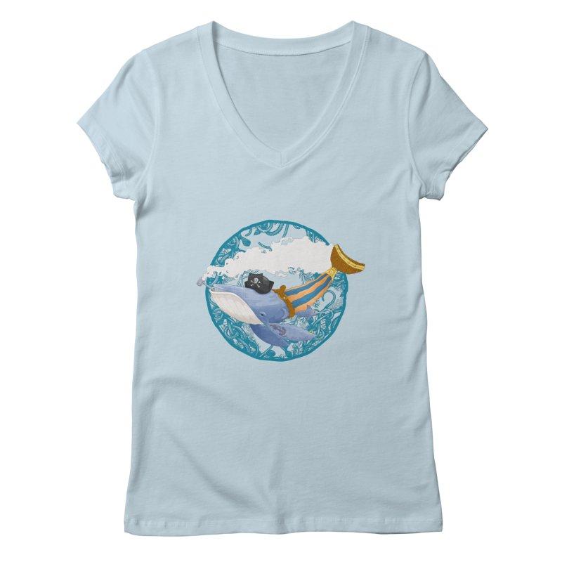 Pirate Whale Women's V-Neck by erdavid's Artist Shop