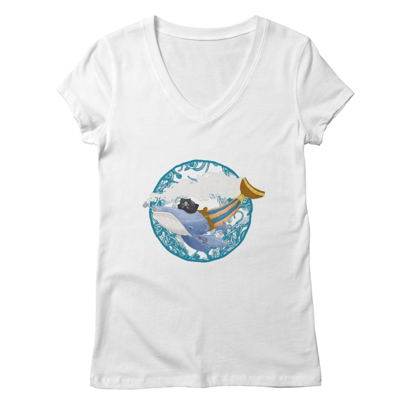 Pirate Whale Women's V-Neck by erdavid's Artist Shop