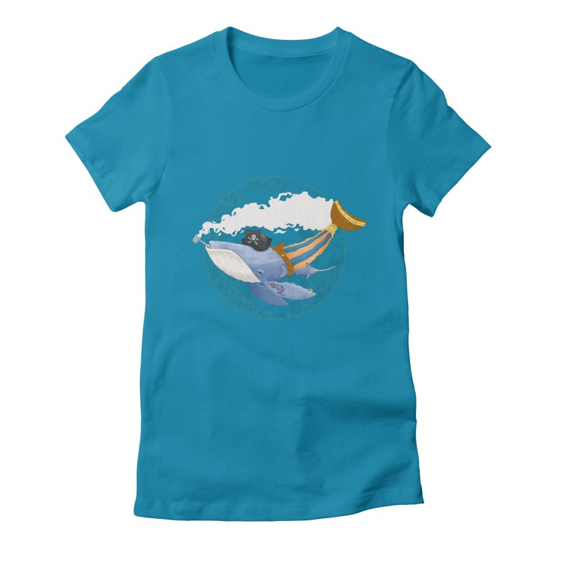 Pirate Whale Women's Fitted T-Shirt by erdavid's Artist Shop