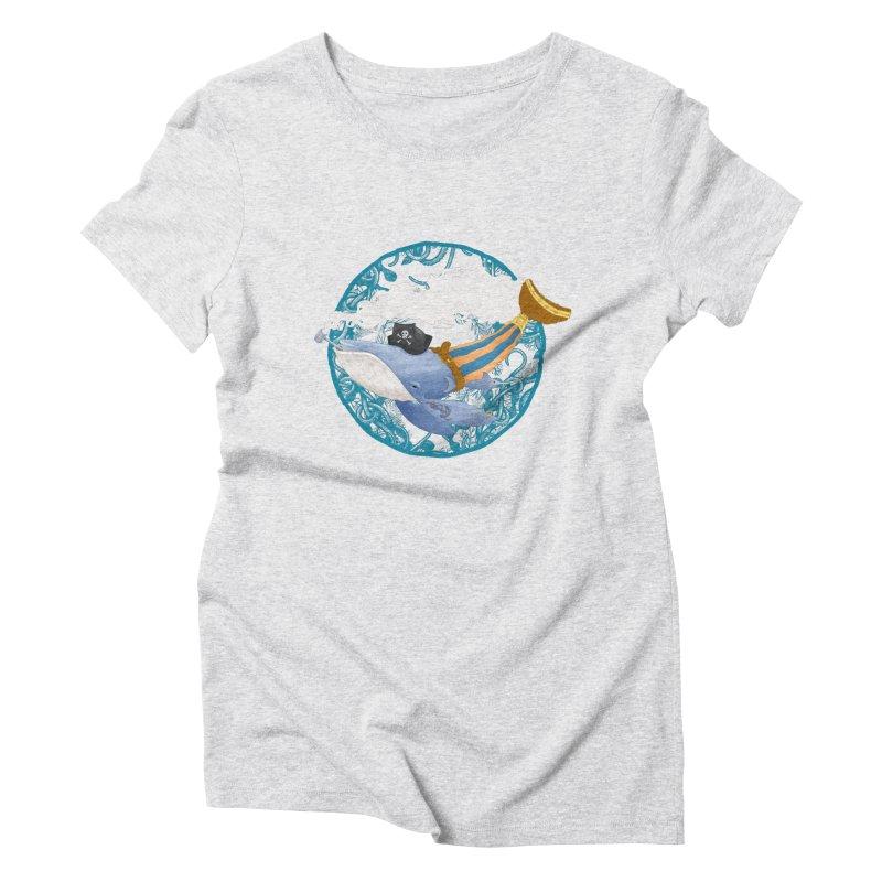 Pirate Whale Women's Triblend T-shirt by erdavid's Artist Shop
