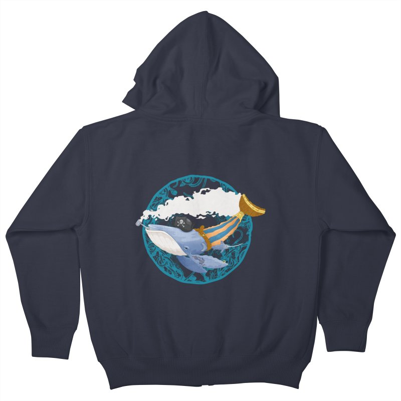 Pirate Whale Kids Zip-Up Hoody by erdavid's Artist Shop