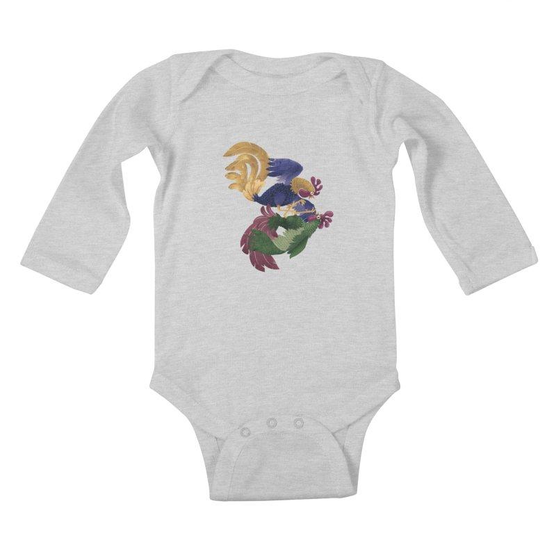 Roosters Kids Baby Longsleeve Bodysuit by erdavid's Artist Shop