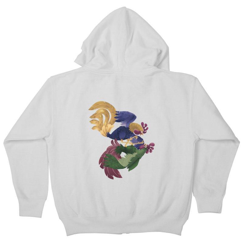 Roosters Kids Zip-Up Hoody by erdavid's Artist Shop