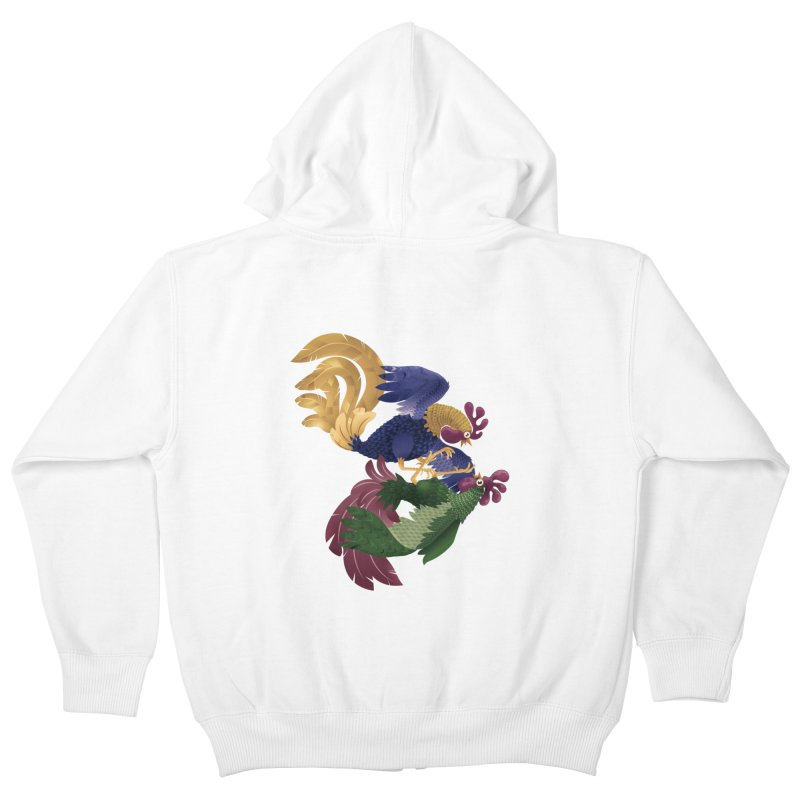 Roosters Kids Zip-Up Hoody by erdavid's Artist Shop