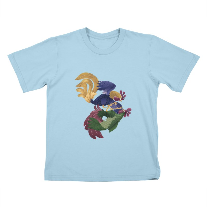 Roosters Kids T-shirt by erdavid's Artist Shop
