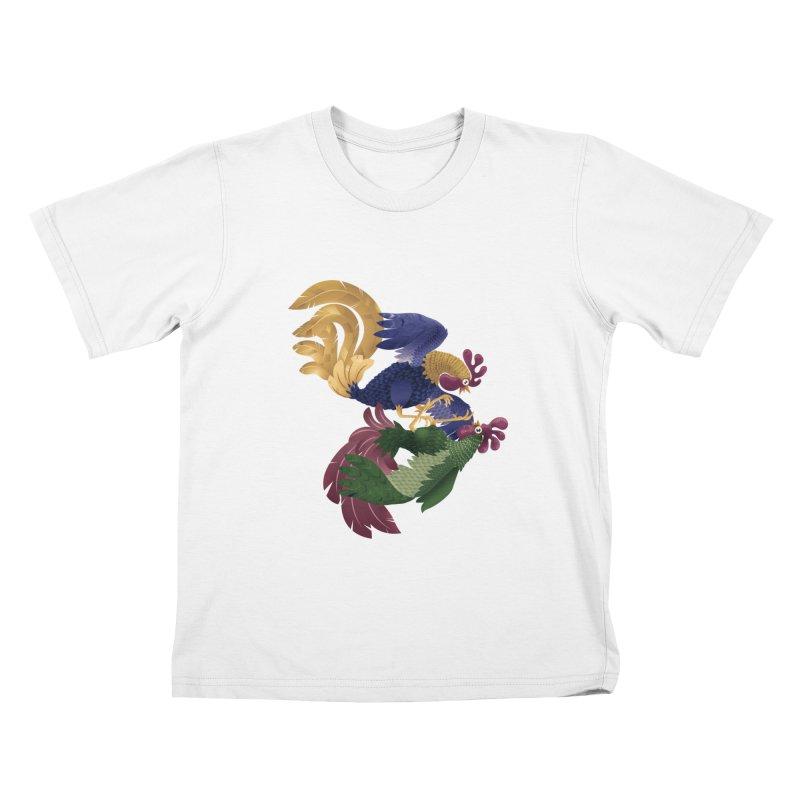 Roosters Kids T-shirt by erdavid's Artist Shop