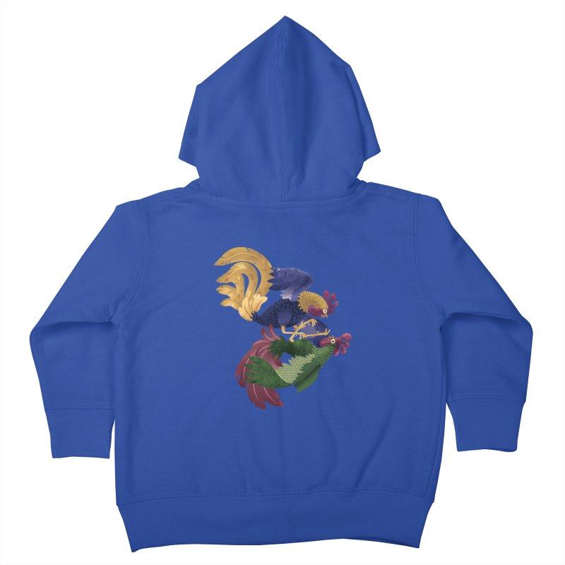 Roosters Kids Toddler Zip-Up Hoody by erdavid's Artist Shop