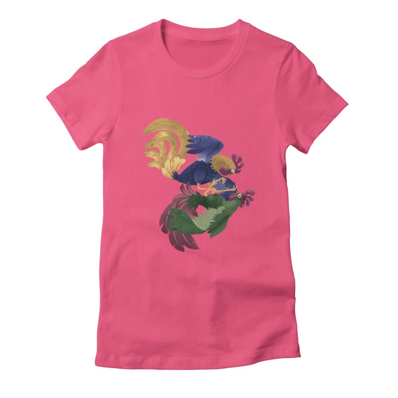 Roosters Women's Fitted T-Shirt by erdavid's Artist Shop