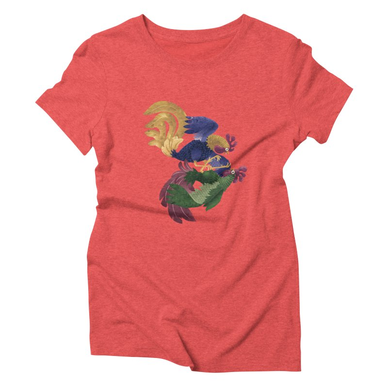 Roosters Women's Triblend T-Shirt by erdavid's Artist Shop