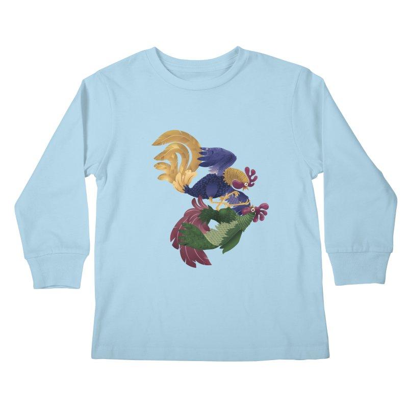 Roosters Kids Longsleeve T-Shirt by erdavid's Artist Shop