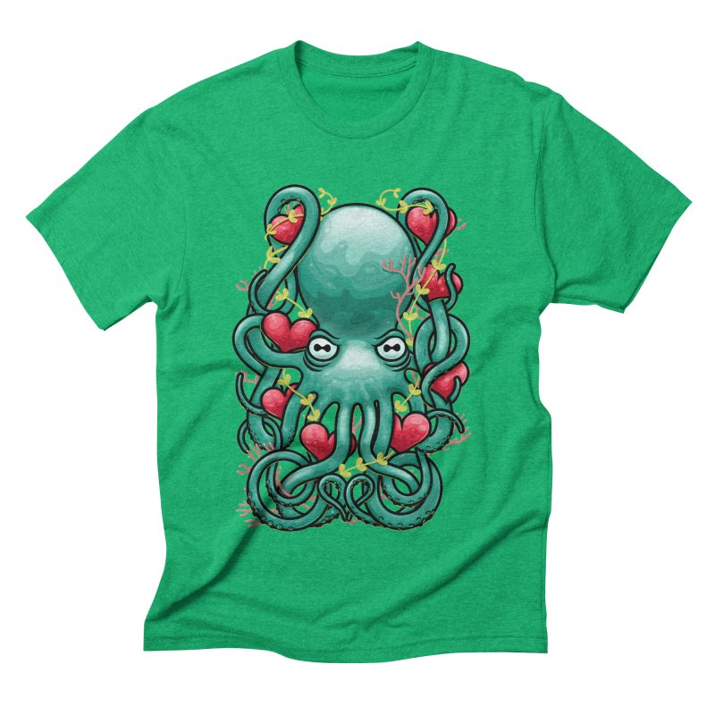 Octupus and Hearts Men's Triblend T-Shirt by erdavid's Artist Shop