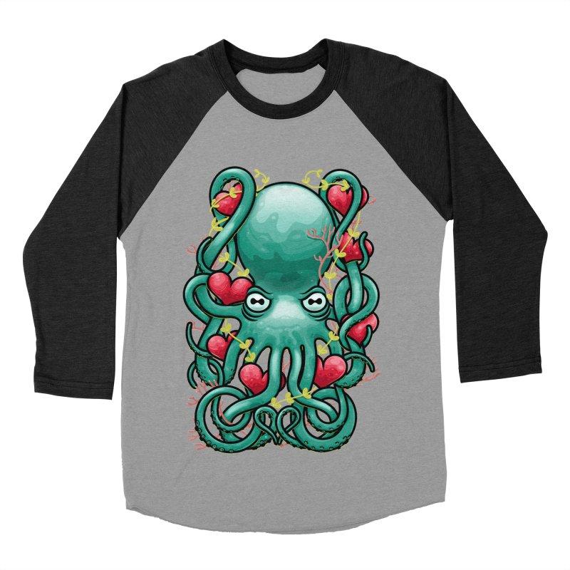 Octupus and Hearts Women's Baseball Triblend T-Shirt by erdavid's Artist Shop