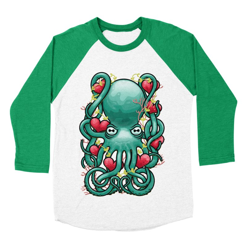 Octupus and Hearts Men's Baseball Triblend T-Shirt by erdavid's Artist Shop