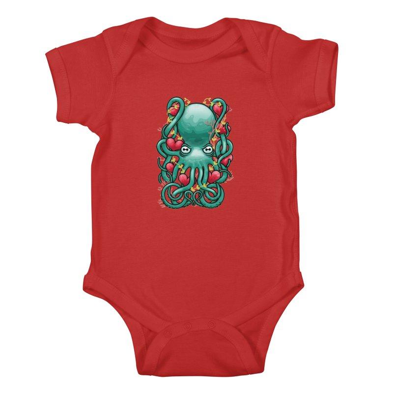 Octupus and Hearts Kids Baby Bodysuit by erdavid's Artist Shop
