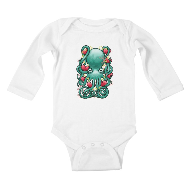 Octupus and Hearts Kids Baby Longsleeve Bodysuit by erdavid's Artist Shop
