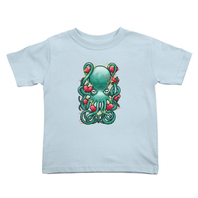 Octupus and Hearts Kids Toddler T-Shirt by erdavid's Artist Shop