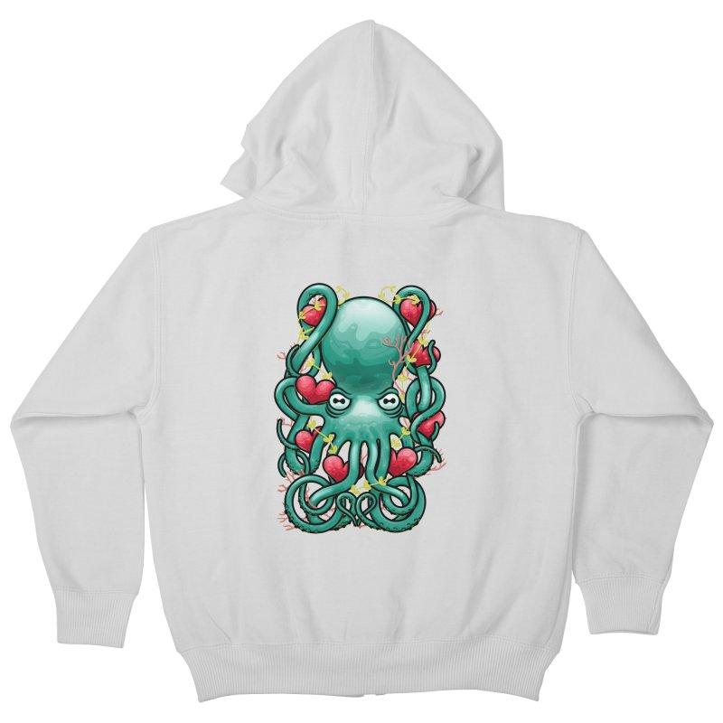Octupus and Hearts Kids Zip-Up Hoody by erdavid's Artist Shop