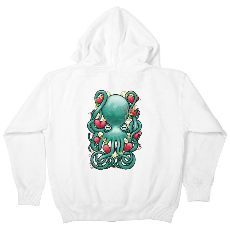 Octupus and Hearts Kids Zip-Up Hoody by erdavid's Artist Shop
