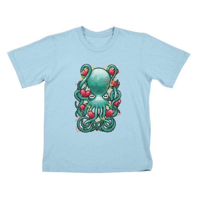 Octupus and Hearts Kids T-Shirt by erdavid's Artist Shop