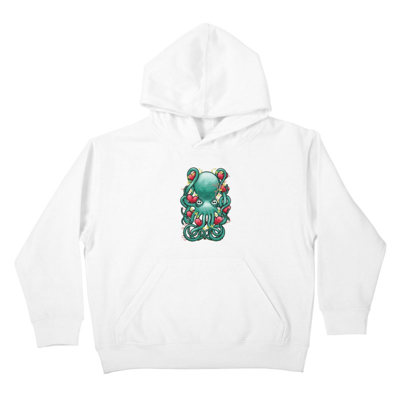 Octupus and Hearts Kids Pullover Hoody by erdavid's Artist Shop