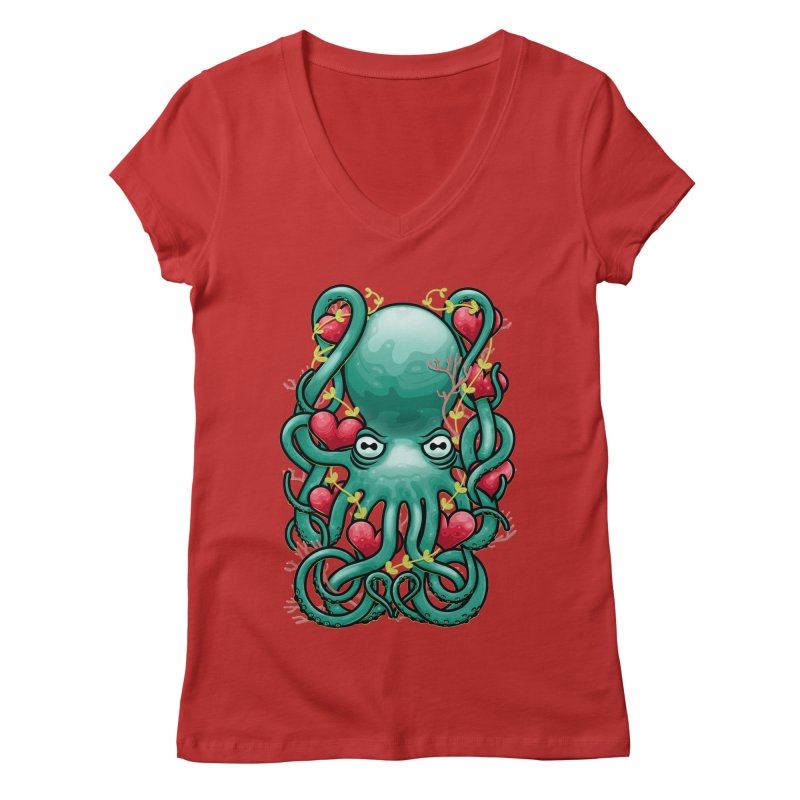 Octupus and Hearts Women's V-Neck by erdavid's Artist Shop