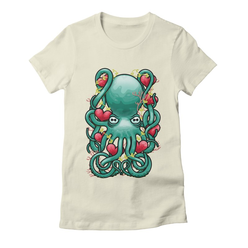 Octupus and Hearts Women's Fitted T-Shirt by erdavid's Artist Shop