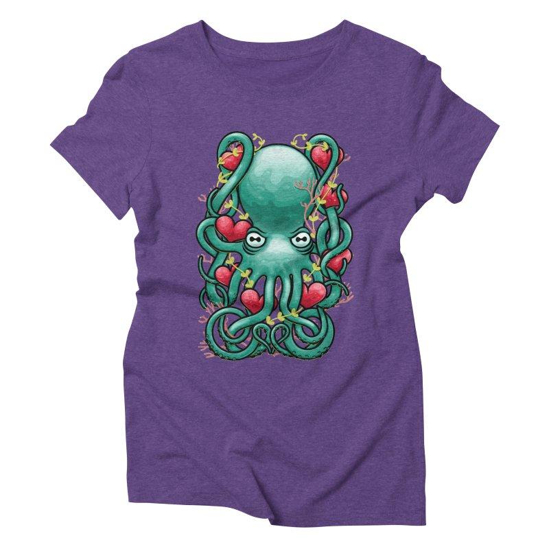 Octupus and Hearts Women's Triblend T-Shirt by erdavid's Artist Shop