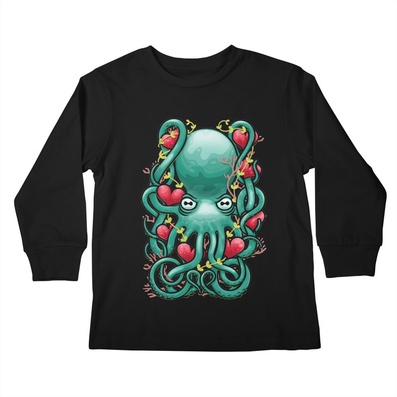 Octupus and Hearts Kids Longsleeve T-Shirt by erdavid's Artist Shop