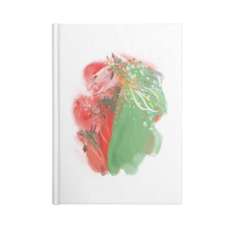 The Mari Lwyd Accessories Lined Journal Notebook by Erica Fails at Merch