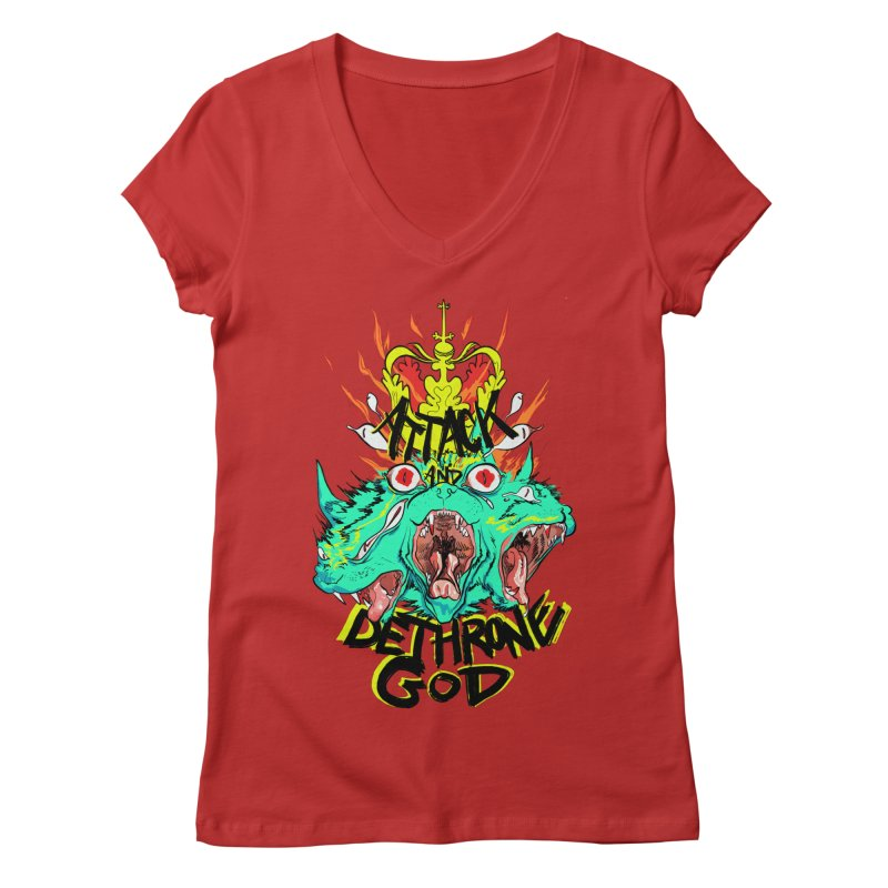 ATTACK AND DETHRONE GOD Women's V-Neck by Erica Fails at Merch