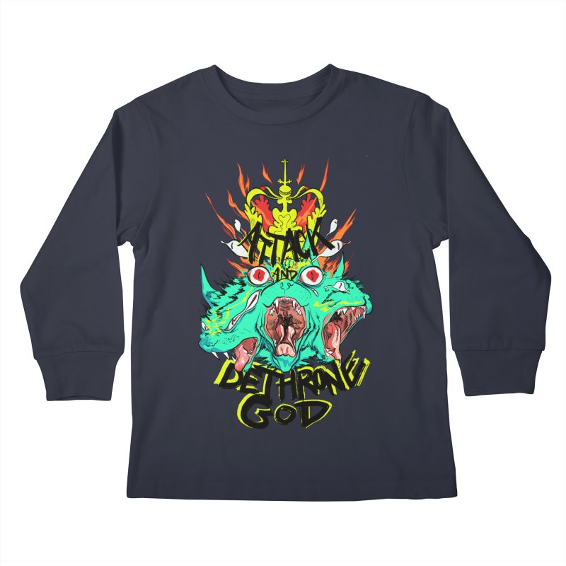 ATTACK AND DETHRONE GOD Kids Longsleeve T-Shirt by Erica Fails at Merch