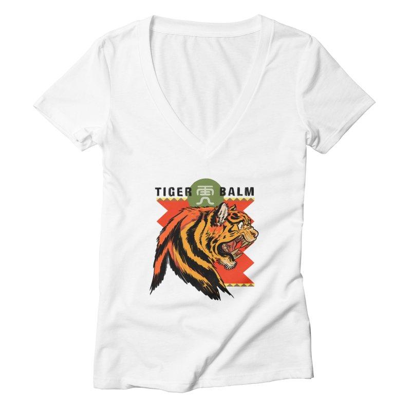 Tiger Balm Women's V-Neck by Erica Fails at Merch