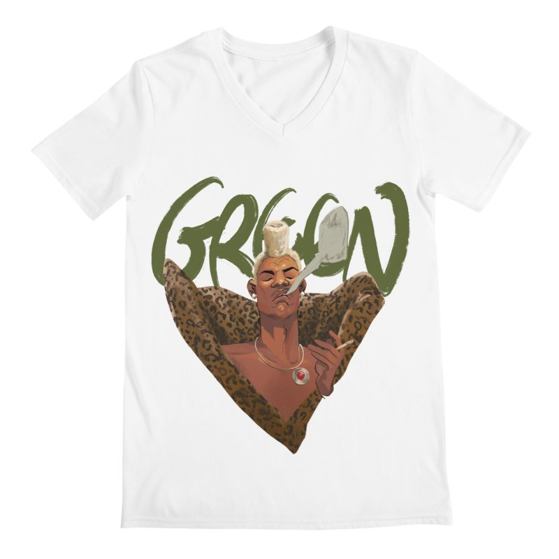 GREEN Men's V-Neck by Erica Fails at Merch