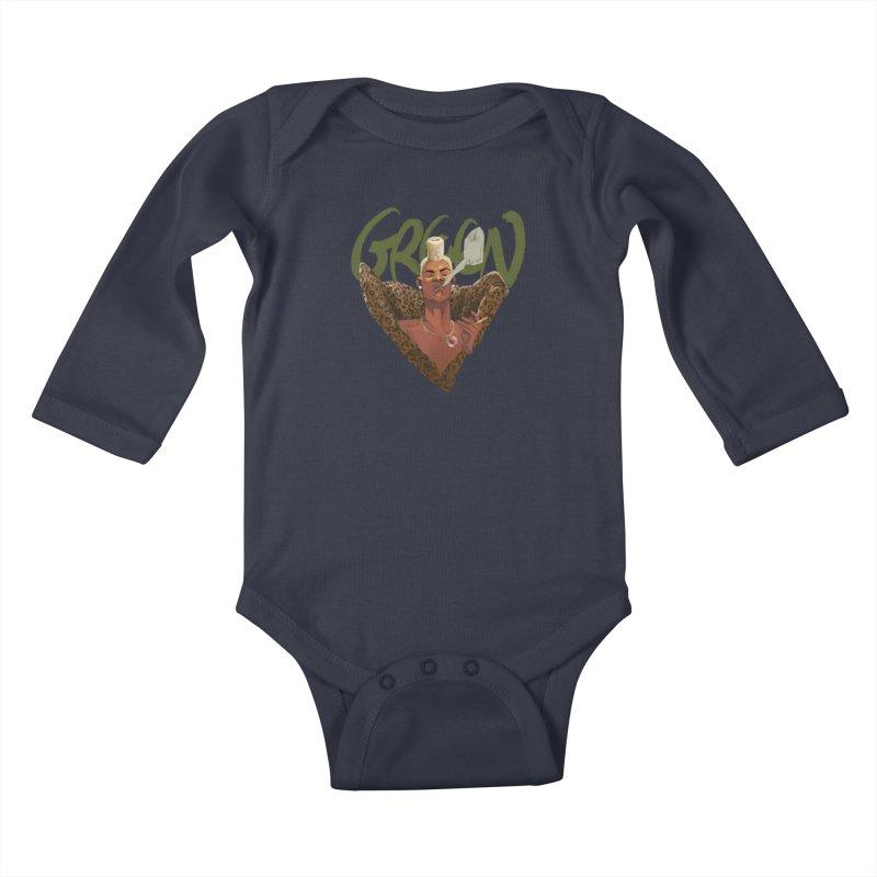 GREEN Kids Baby Longsleeve Bodysuit by Erica Fails at Merch