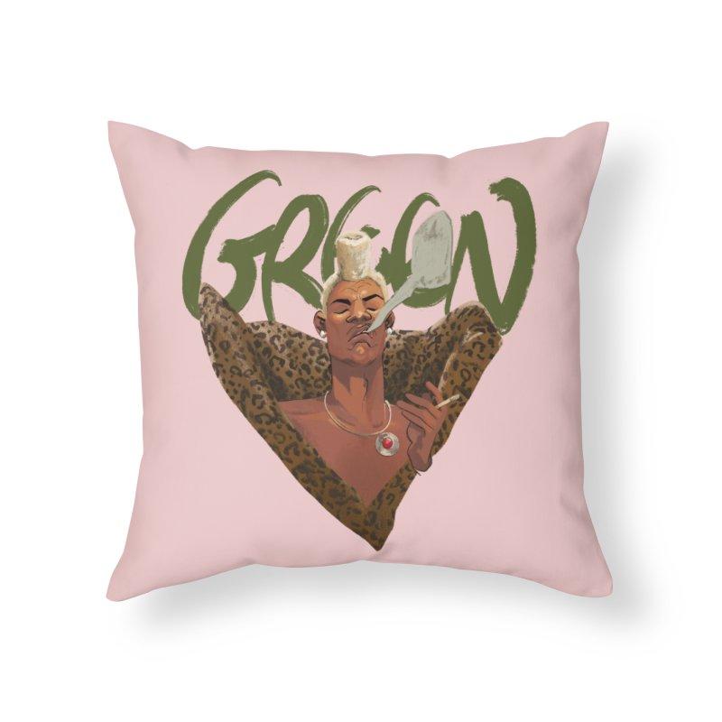 GREEN Home Throw Pillow by Erica Fails at Merch