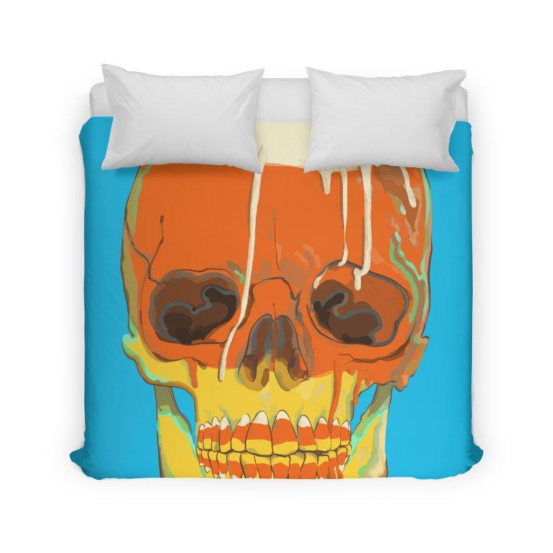 Candy Corn Cranium Home Duvet by Erica Fails at Merch