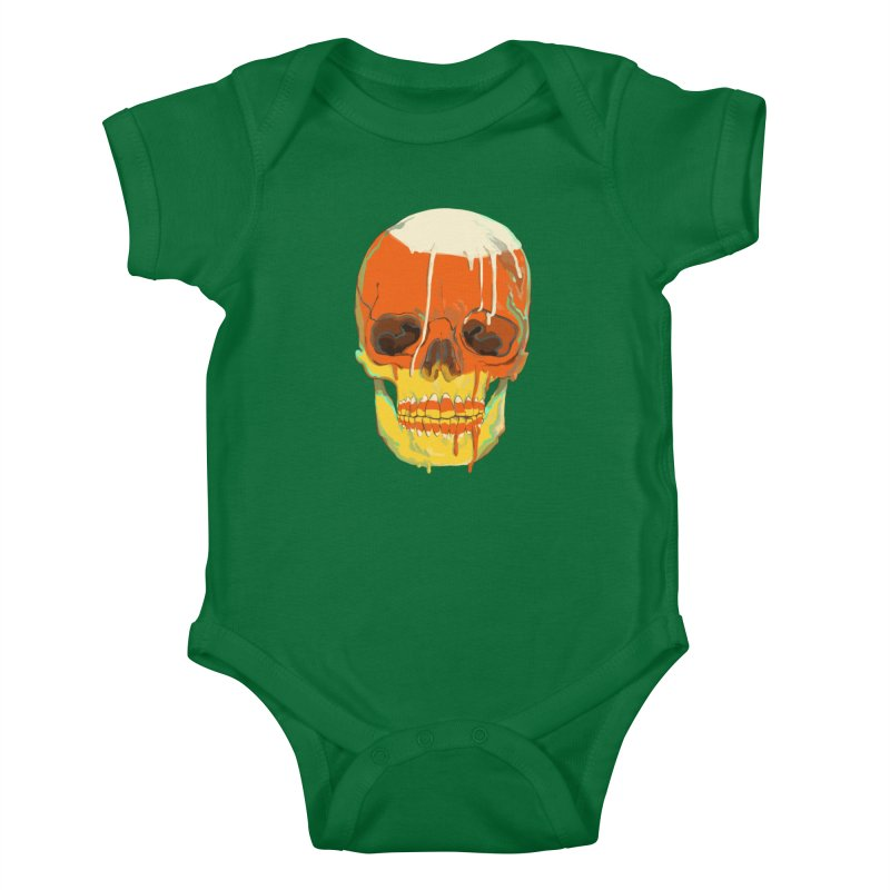 Candy Corn Cranium Kids Baby Bodysuit by Erica Fails at Merch