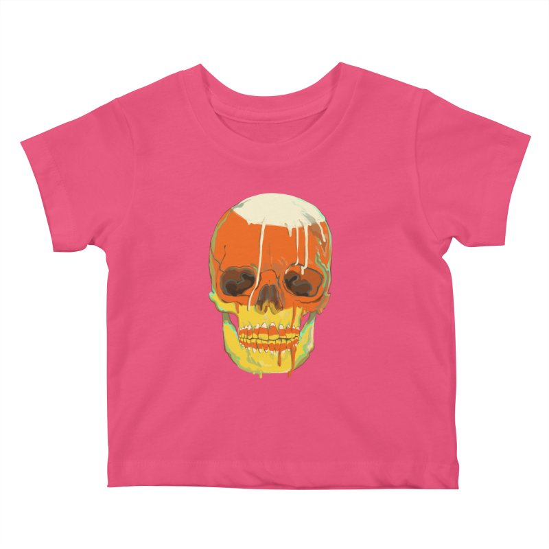 Candy Corn Cranium Kids Baby T-Shirt by Erica Fails at Merch
