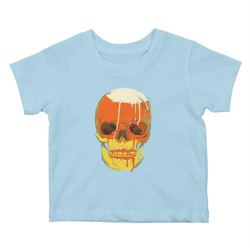 Candy Corn Cranium Kids Baby T-Shirt by Erica Fails at Merch
