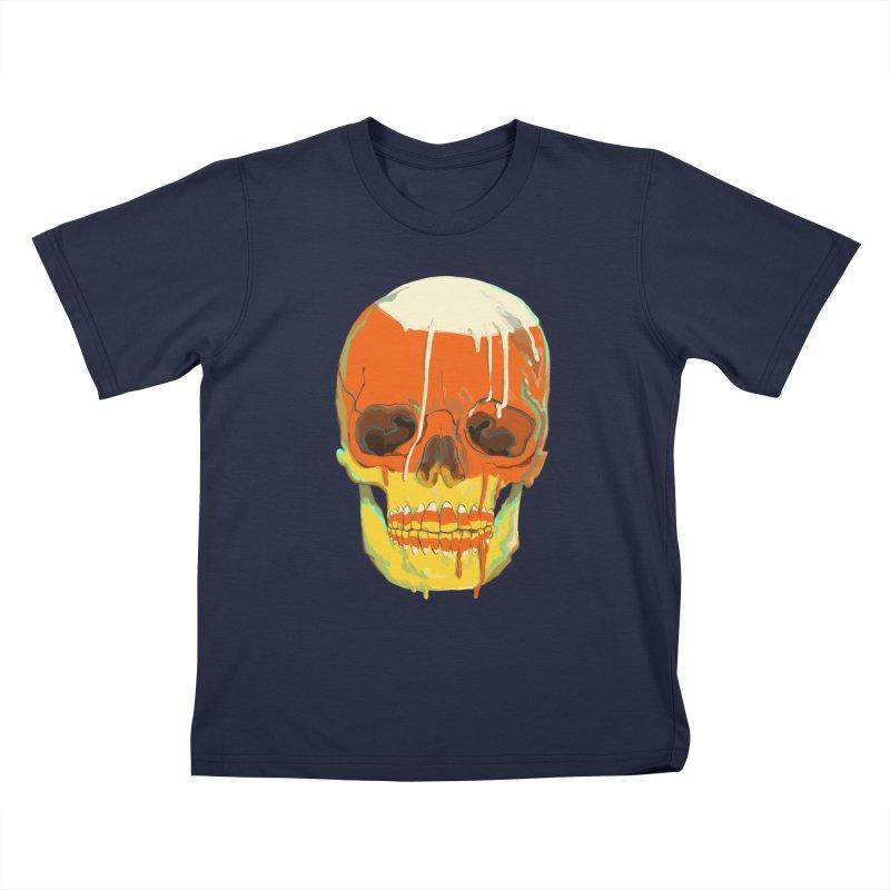 Candy Corn Cranium Kids T-Shirt by Erica Fails at Merch
