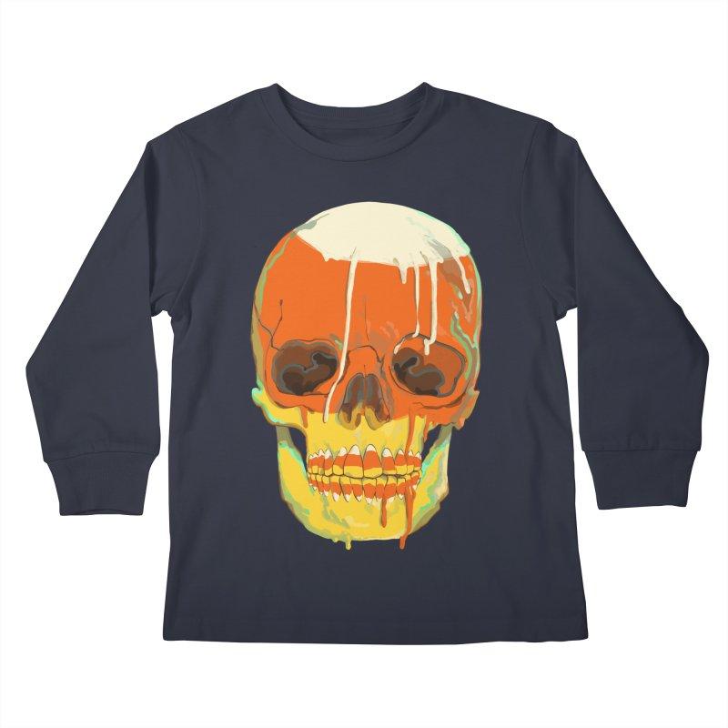 Candy Corn Cranium Kids Longsleeve T-Shirt by Erica Fails at Merch