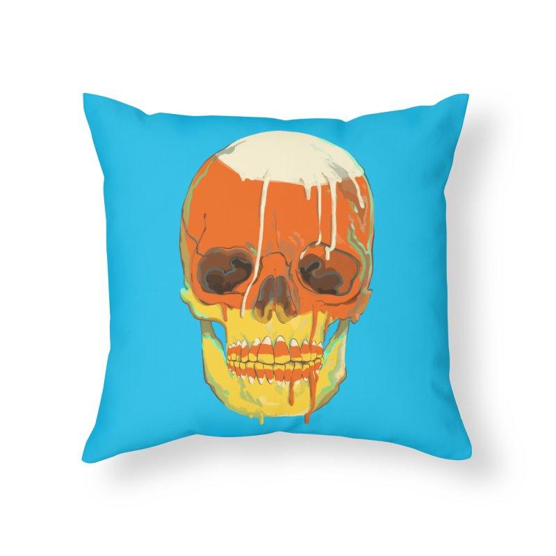 Candy Corn Cranium Home Throw Pillow by Erica Fails at Merch