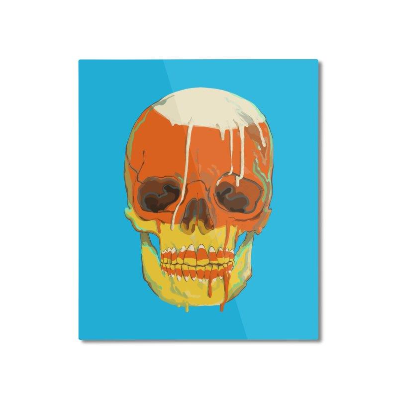 Candy Corn Cranium Home Mounted Aluminum Print by Erica Fails at Merch