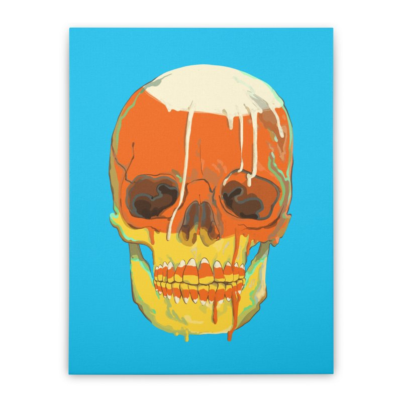 Candy Corn Cranium Home Stretched Canvas by Erica Fails at Merch