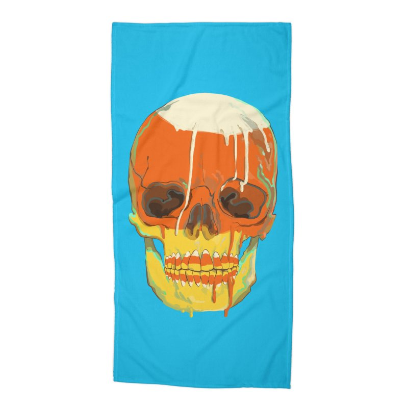 Candy Corn Cranium Accessories Beach Towel by Erica Fails at Merch