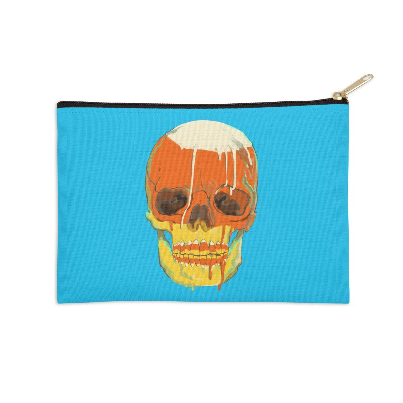 Candy Corn Cranium Accessories Zip Pouch by Erica Fails at Merch