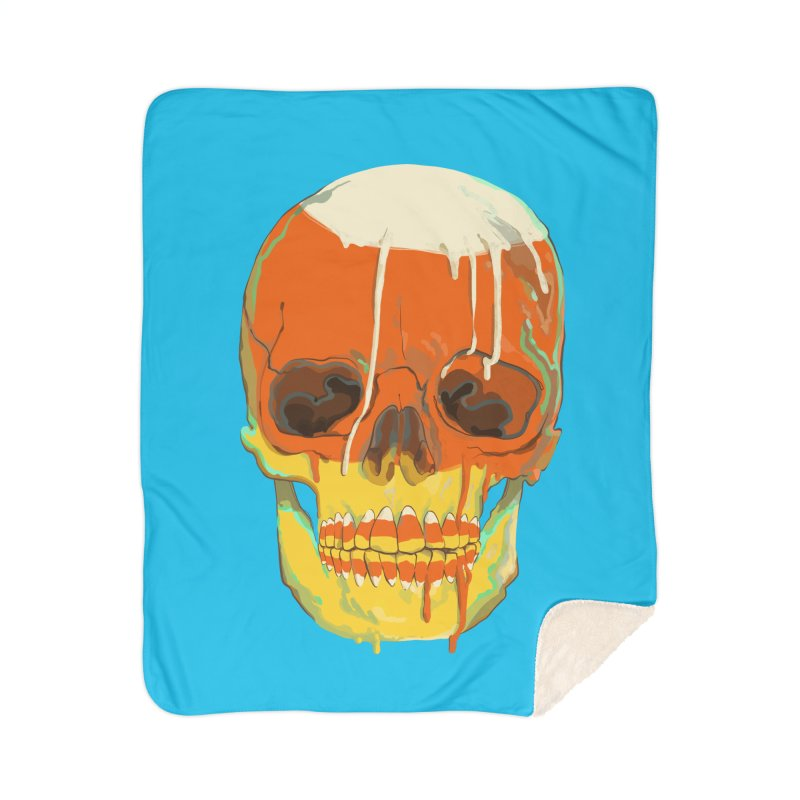Candy Corn Cranium Home Blanket by Erica Fails at Merch