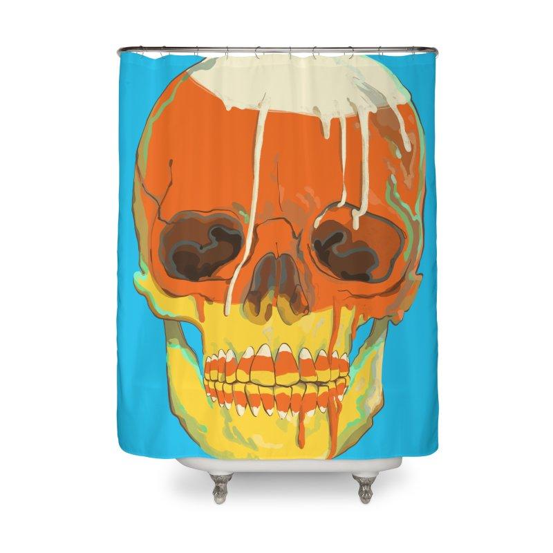 Candy Corn Cranium Home Shower Curtain by Erica Fails at Merch