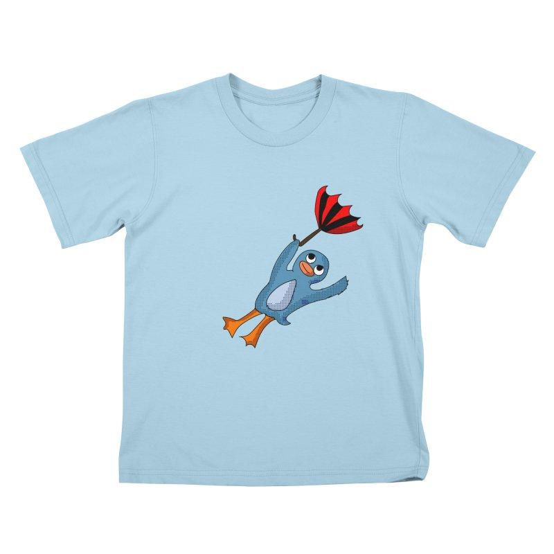 Wind Blown Penguin in Kids T-shirt Powder Blue by ericallen's Artist Shop